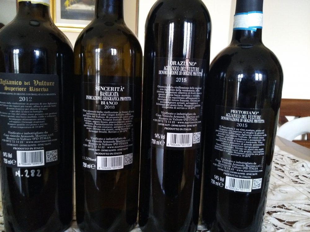 Controetichette vini Martino
