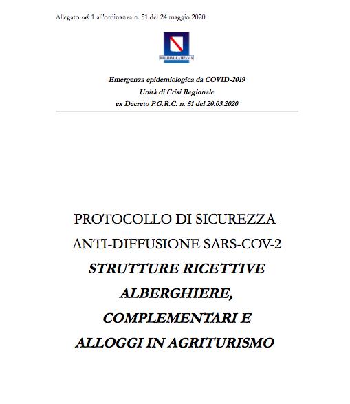 Protocollo di sicurezza anti-diffusione sars-cov-2 - Strutture ricettive alberghiere, complementari e Alloggi in agriturismo