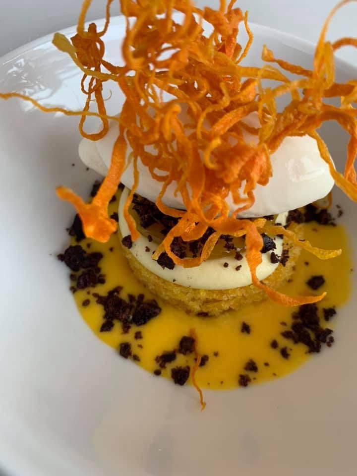 La Torre del Saracino - Morbido di carote, cremoso all'olio extravergine di oliva con sorbetto di banane