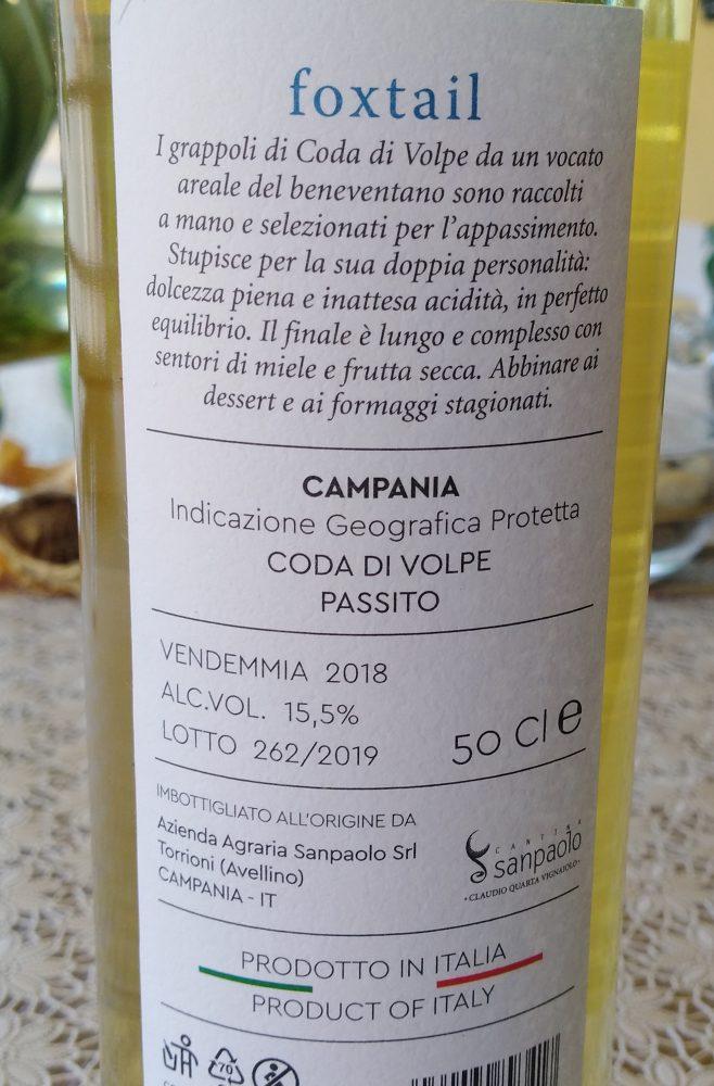 Controetichetta Foxtail Coda di Volpe Passito Claudio Quarta