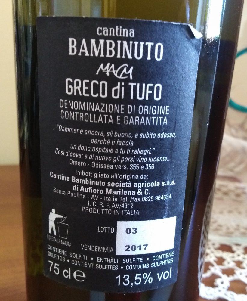Controetichetta Greco di Tufo Docg 2017 Bambinuto