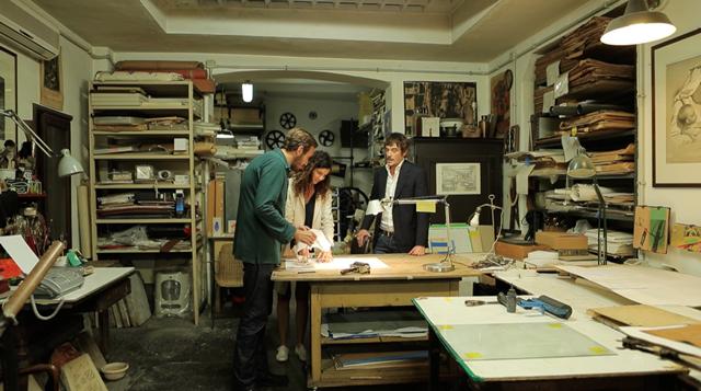 L'artista Gianni Politi e i cofounder Maddalena Salerno, Lelio Orsini. Litografia Bulla Roma