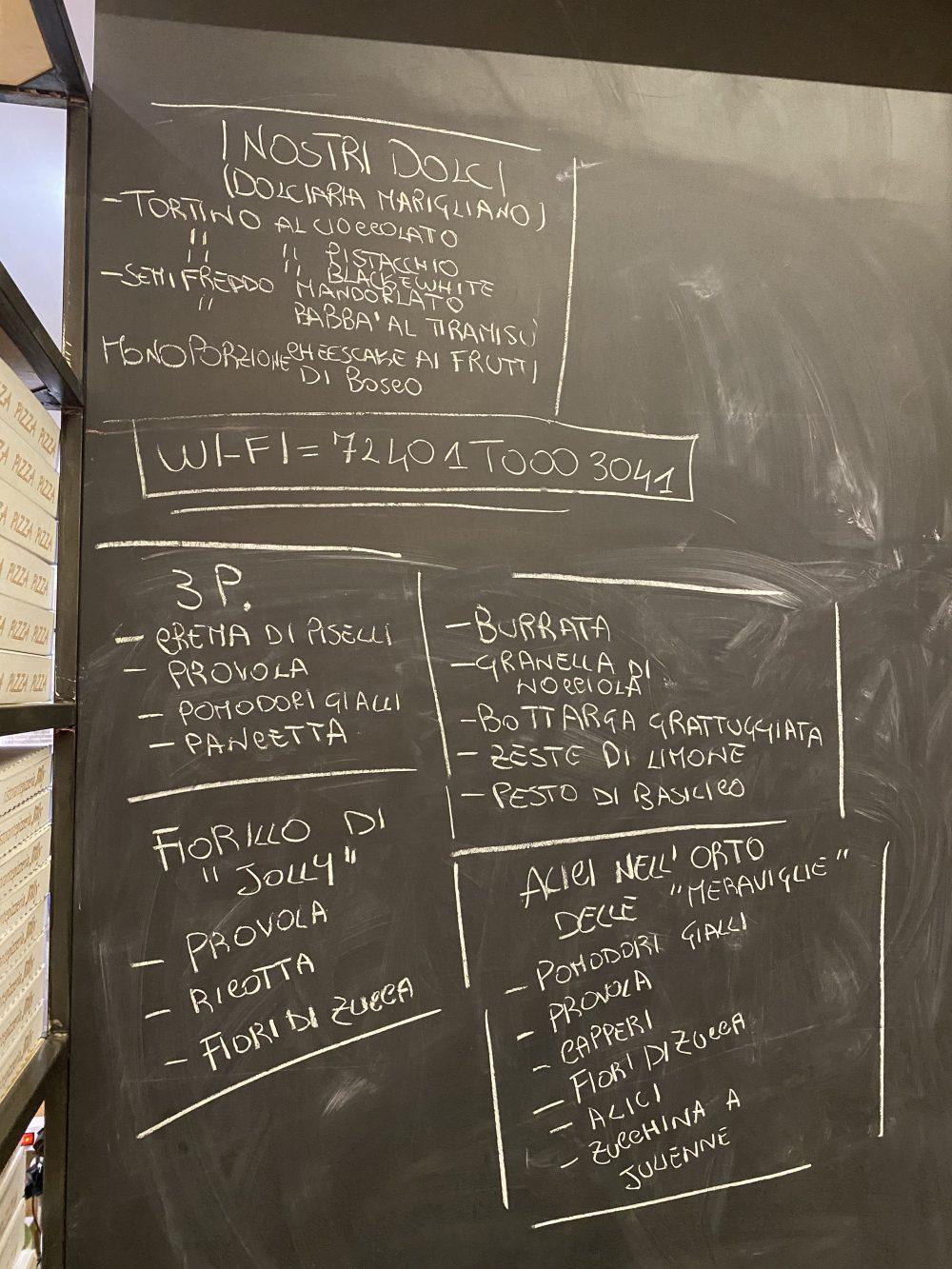 Pizzeria Jolly - lavagna