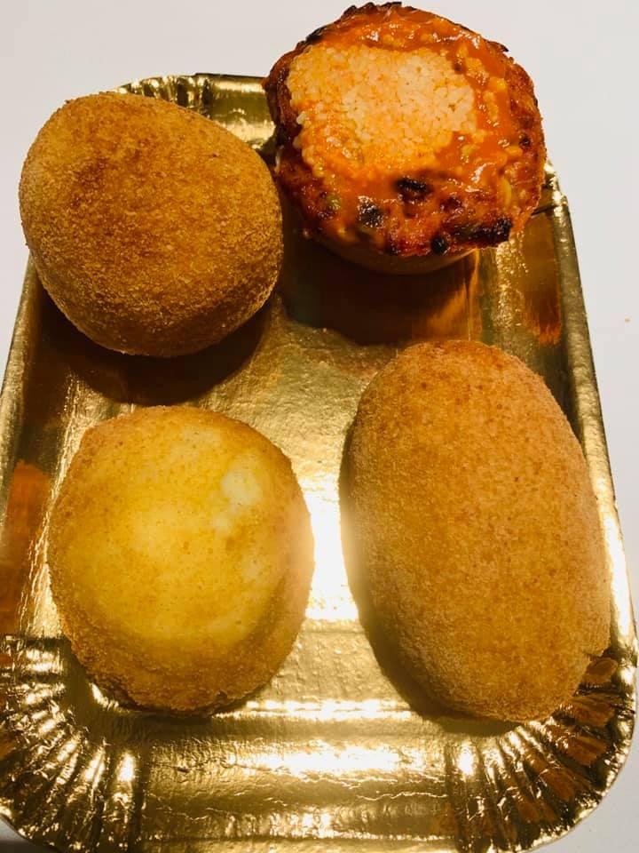 L'asporto di Angelina - arancino, timballo di tagliolini e piselli, crocche e mozzarella in carrozza