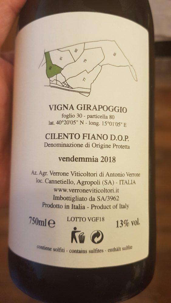 Verrone Viticoltori – Cilento Dop Fiano Vigna Girapoggio 2018