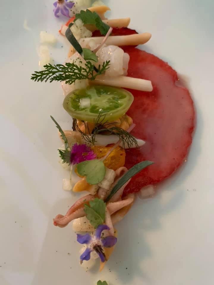 La Pergola - Frutti di mare su carpaccio di anguria con pomodorini