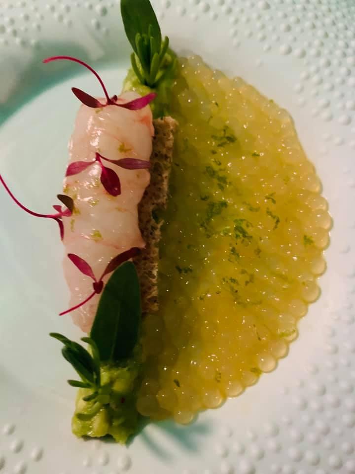 La Pergola - Scampo su avocado con tapioca al lemongrass e lime