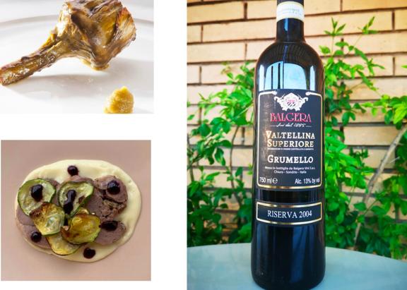 Grumello 2004 in abbinamento con Carciofo al rosmarino di Niko Romito e Agnello con purea di patate affumicato e riduzione di vino di Oasis Sapori Antichi