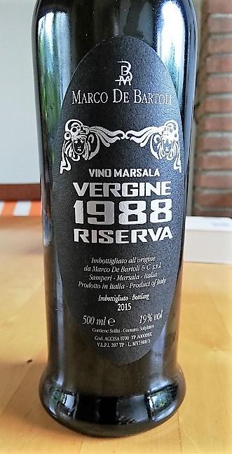 De Bartoli Marsala Vergine Riserva 1988