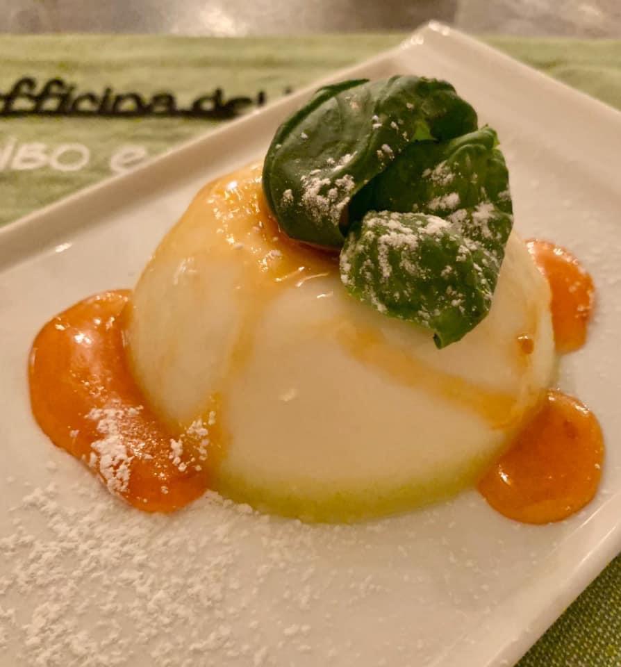 Officina del vino - Panna cotta all olio di oliva nocellara e gelatina di basilico