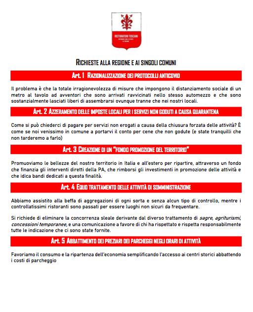 Manifesto dei Ristoratori Toscana