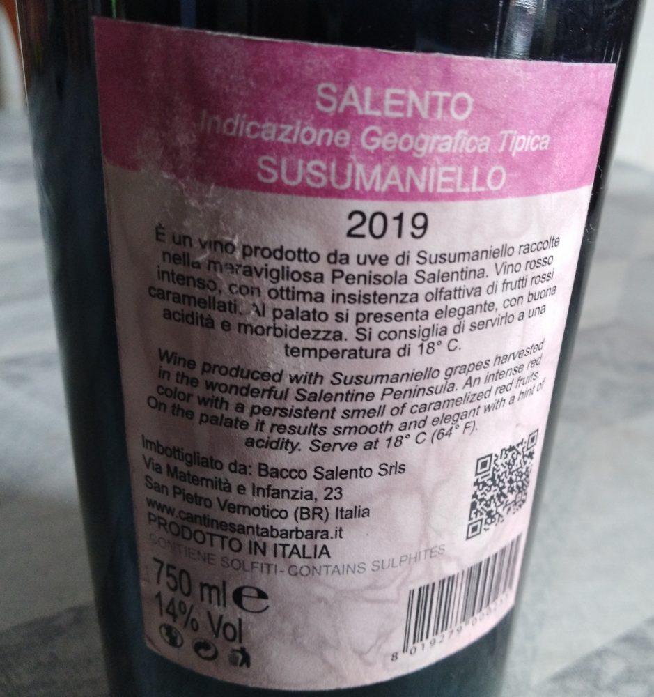 Controetichetta Capirussu Susumaniello Salento Igt 2019 Santa Barbara