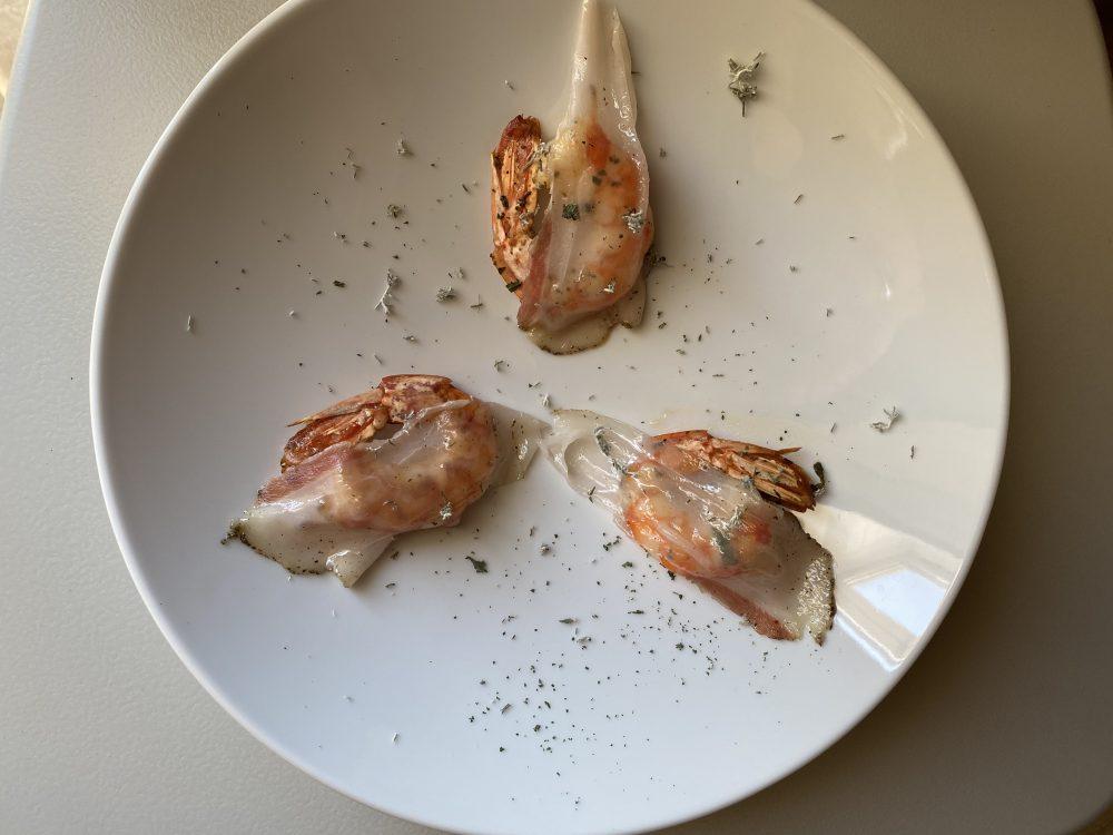 Enosteria Tage' - Gamberi con lardo del prosciuttificio Ciarcia