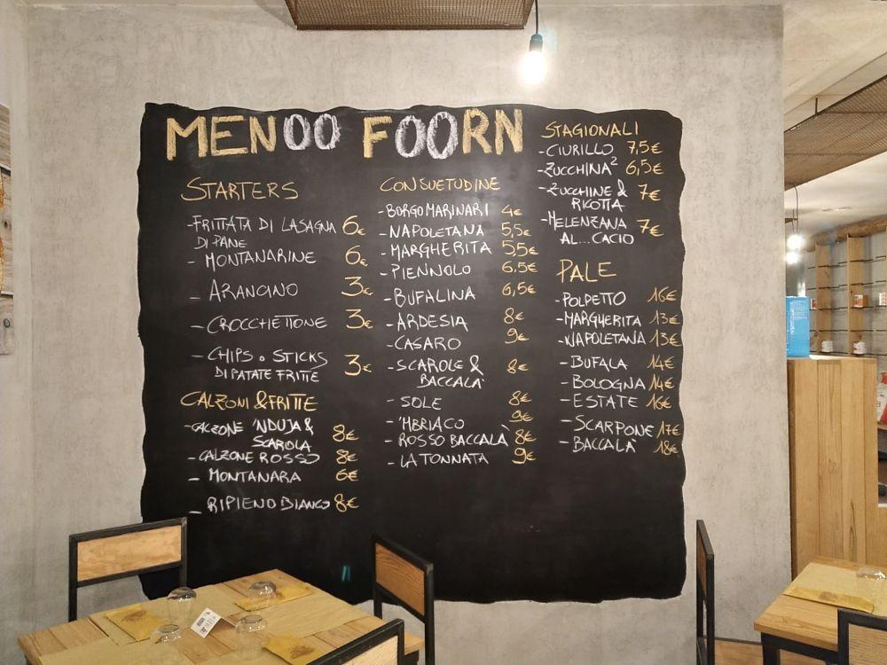 Foorn - menu'