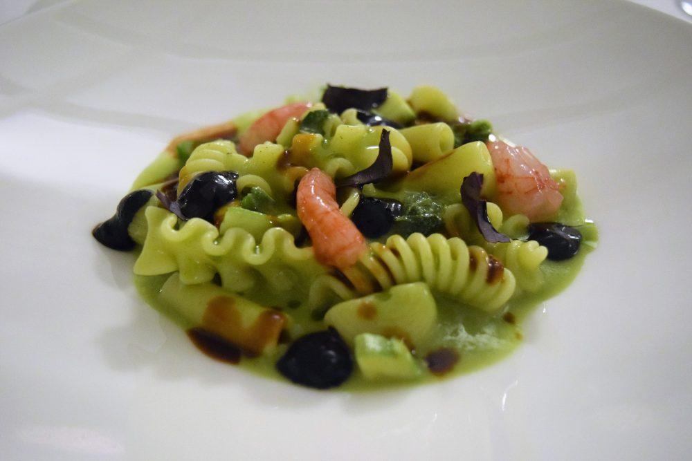Osteria Arbustico - la Minestra di pasta con talli, zucchine, fiori e gamberi