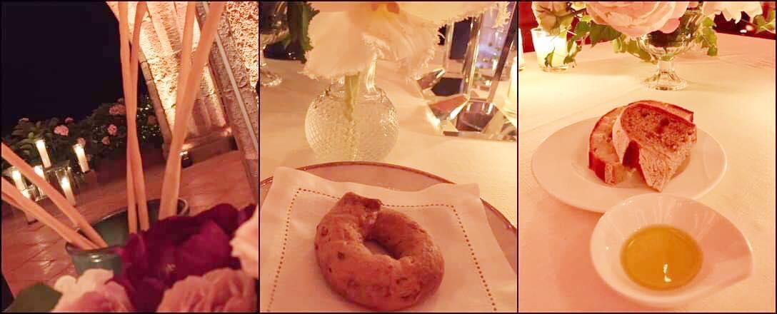 Villa Cimbrone, cena con Emanuele Scarello e Lorenzo Montoro, pane e grissini