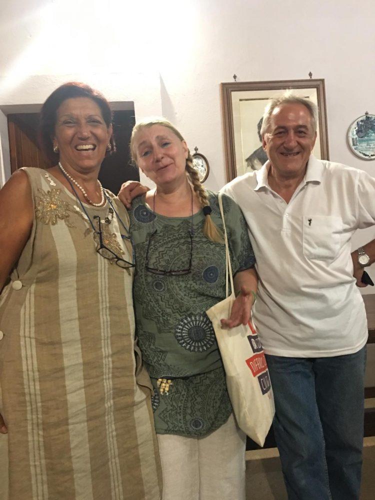 Anna Margherita Valenzi , organizzatrice del festival, Gabriella Cinelli e Massimo Grossi di Slow Food