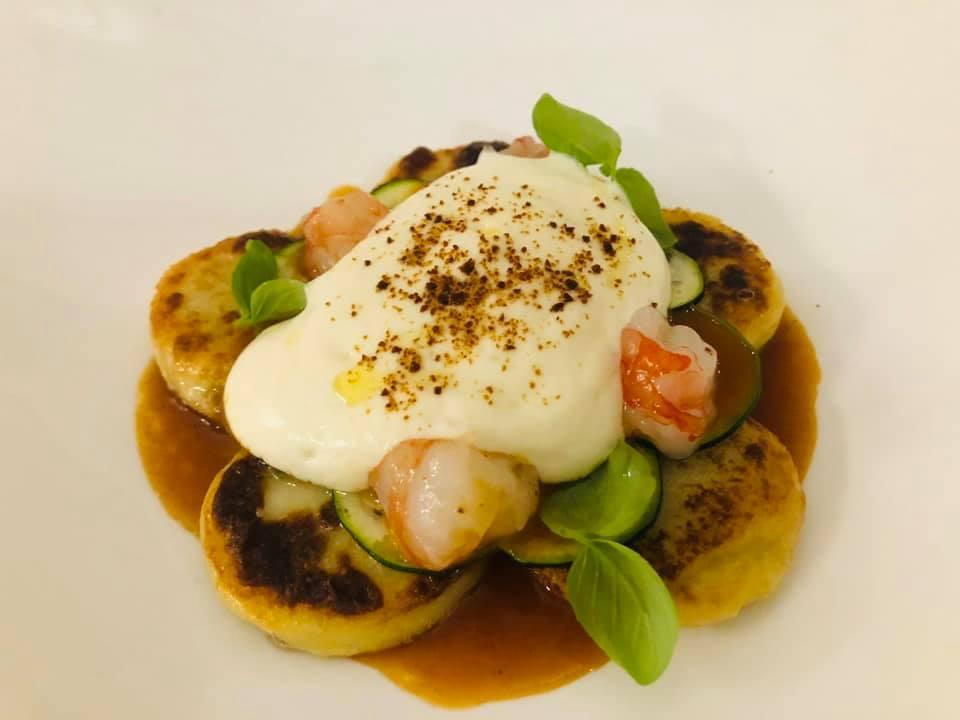 Jose' Restaurant - Ravioli arrostiti di patate zucchine, gamberi e provola