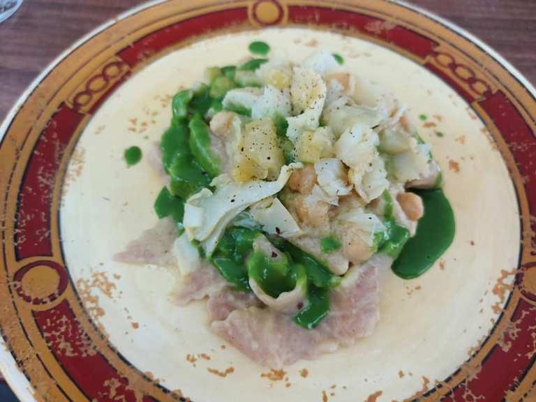 Il Principe, Lagane di farro, hummus di ceci, stoccafisso all'insalata, limone fermentato al sale e ortiche