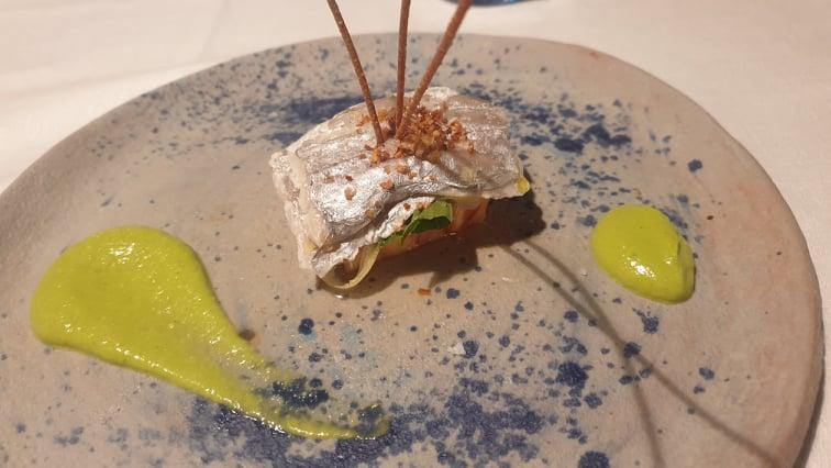 Marina Grande - Pesce bandiera su pomodoro sorrentino, limone confit e con crumble di colatura e pesto di zucchine