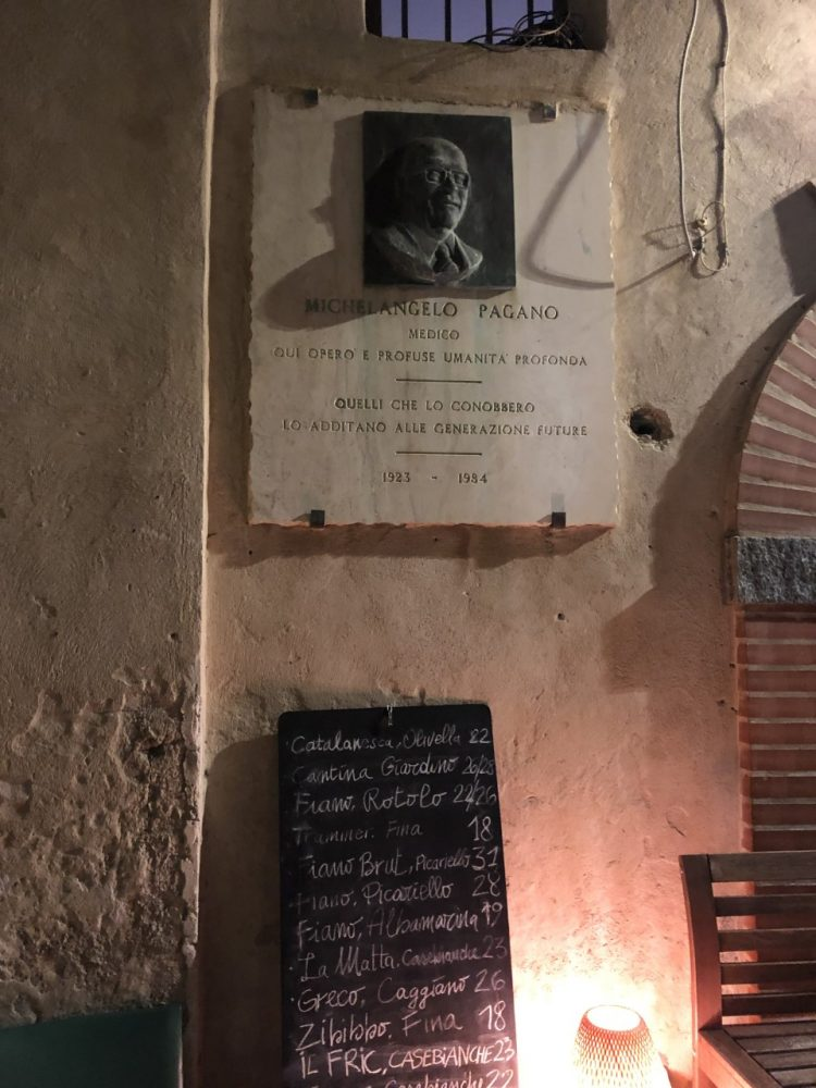 Malabar - carta dei vini e effige di M. Pagano