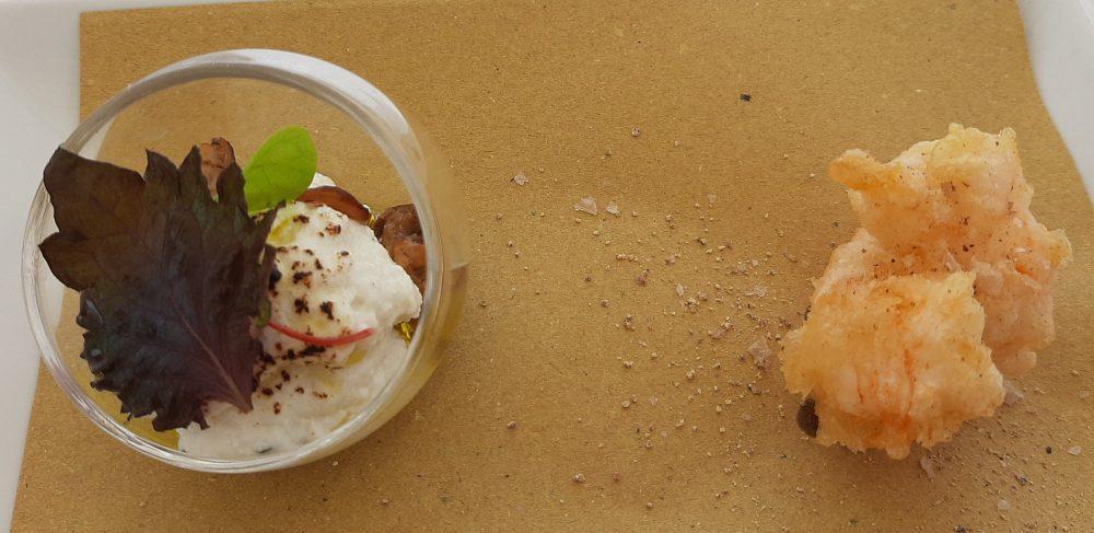 Ristorante Melchio' - Ricottina saporita con porcini saltati e scampo in tempura