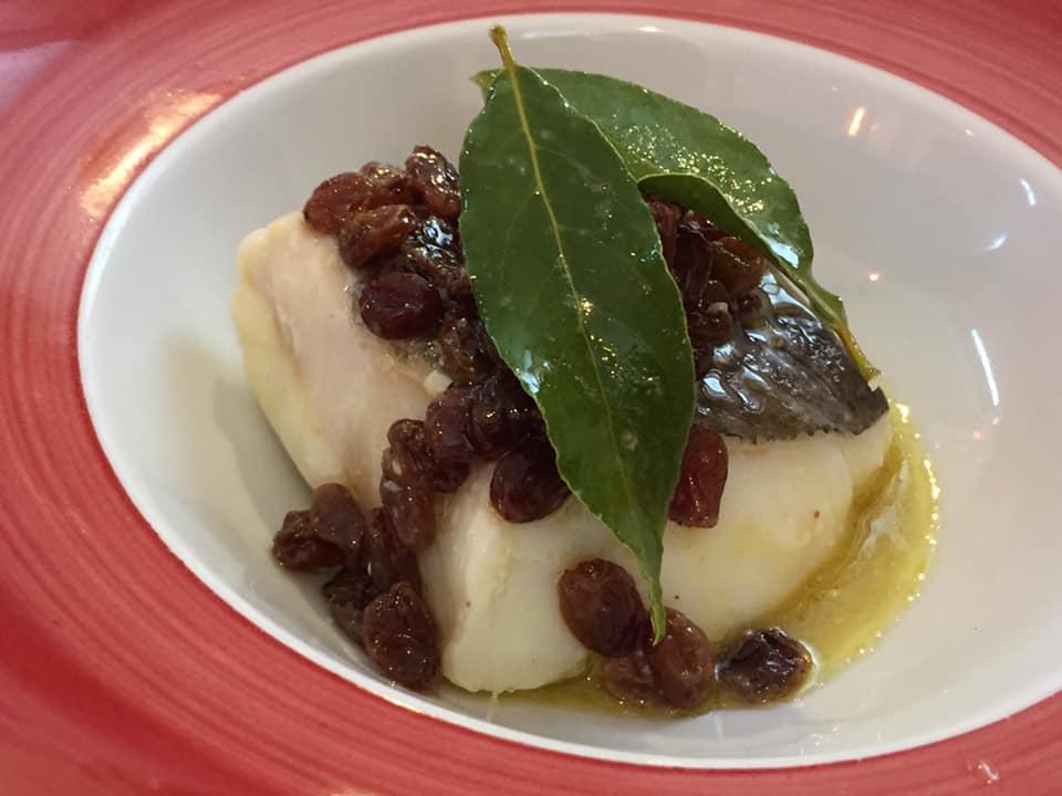 Locanda San Cipriano, baccala' con uvetta e alloro, antica ricetta