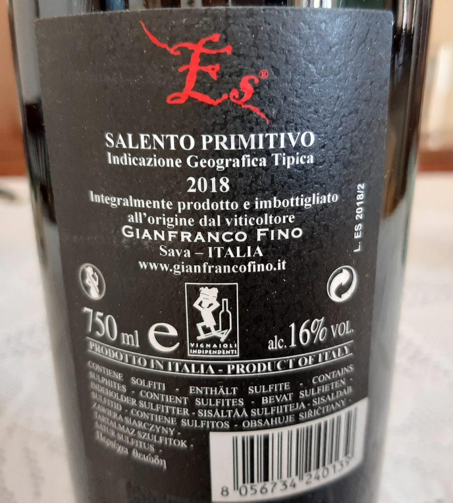 Controetichetta Es Primitivo Salento Igt 2018 Gianfranco Fino