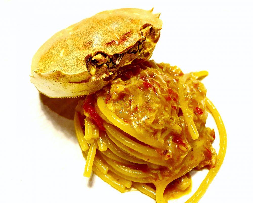 Serica, Spaghetti al Granchio, Pomodorini Confit, Zenero e Shao Xin