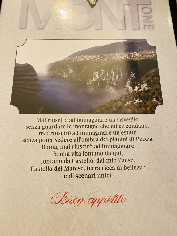 Mont -one Pizzeria - Menu'