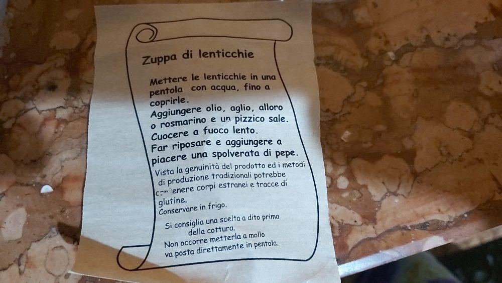 Zuppa di lenticchie – S. Stefano di Sessanio AQ, ricetta tipica