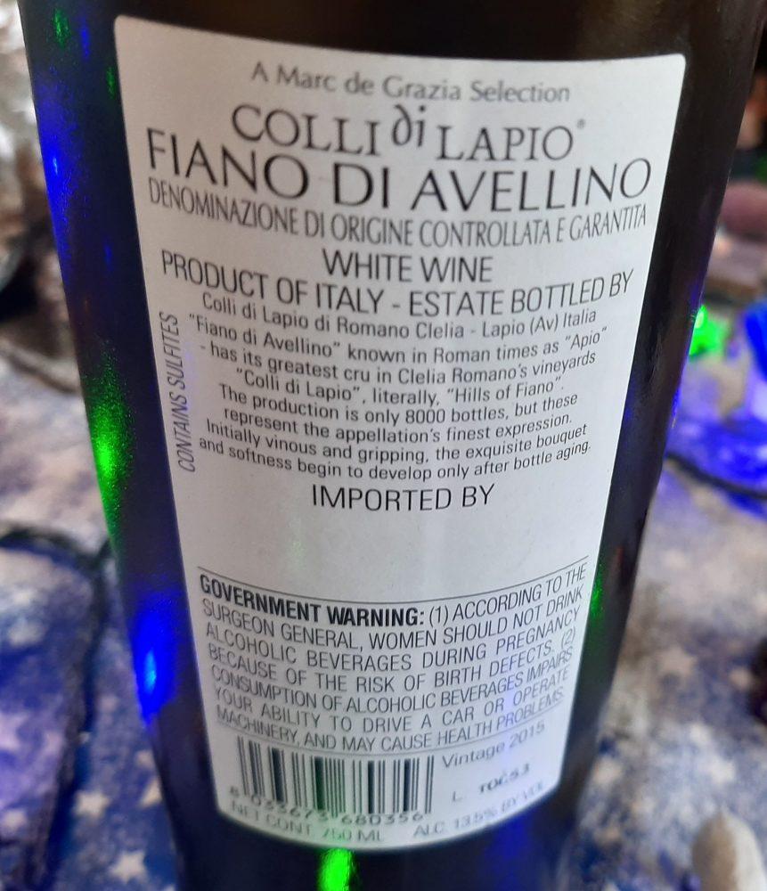 Controetichetta Fiano di Avellino Docg Colli di Lapio Romano Clelia 2015