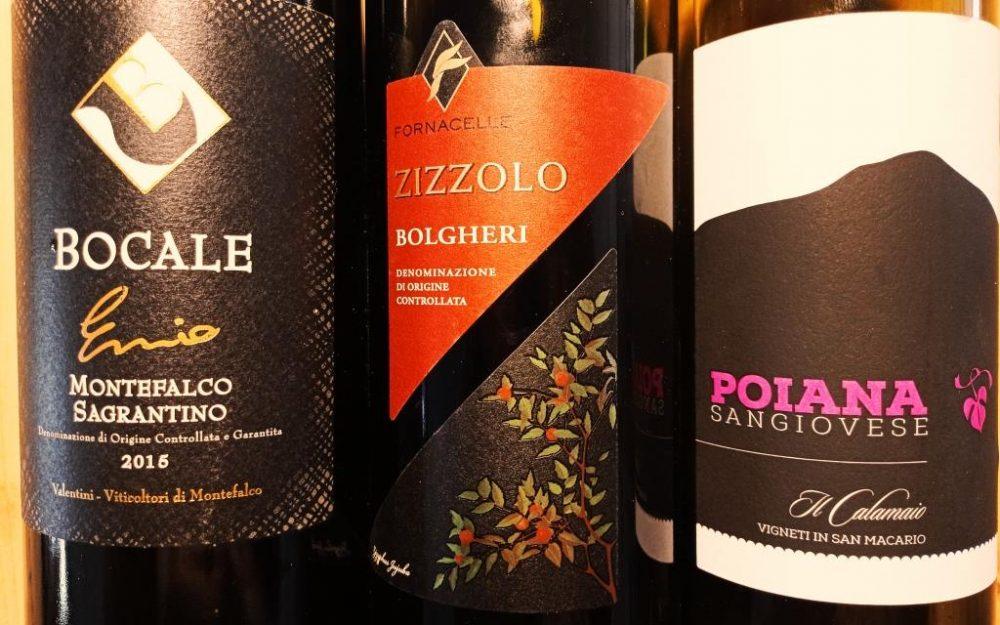 Ennio, Sagrantino di Montefalco docg 2015, Bocale - Poiana Sangiovese 2019, Toscana IGt, Il Calamaio - Zizzolo 2018, Bolgheri Rosso doc, Fornacelle