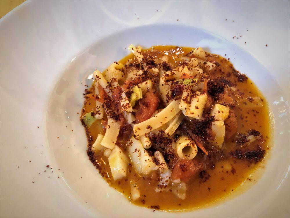 Botteghe Antiche, pasta a misc con ragu di baccala' e peperoni cruschi