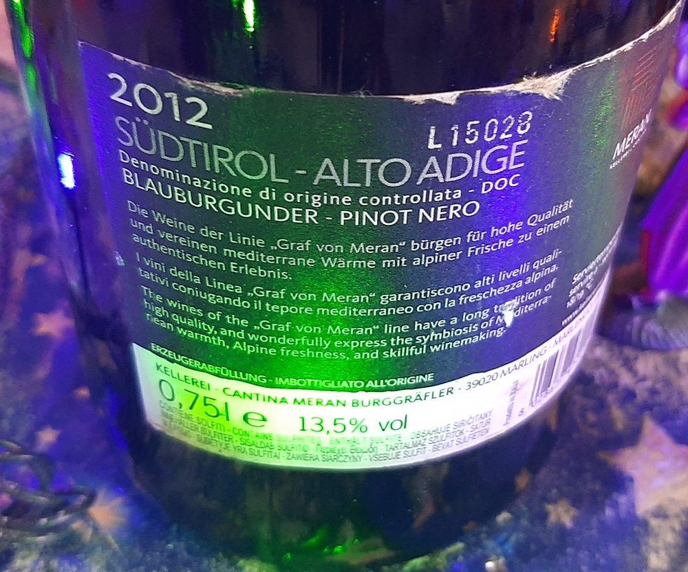 Controetichetta Blauburgunder Pinot Nero Sud Tirolo Alto Adige Doc 2012
