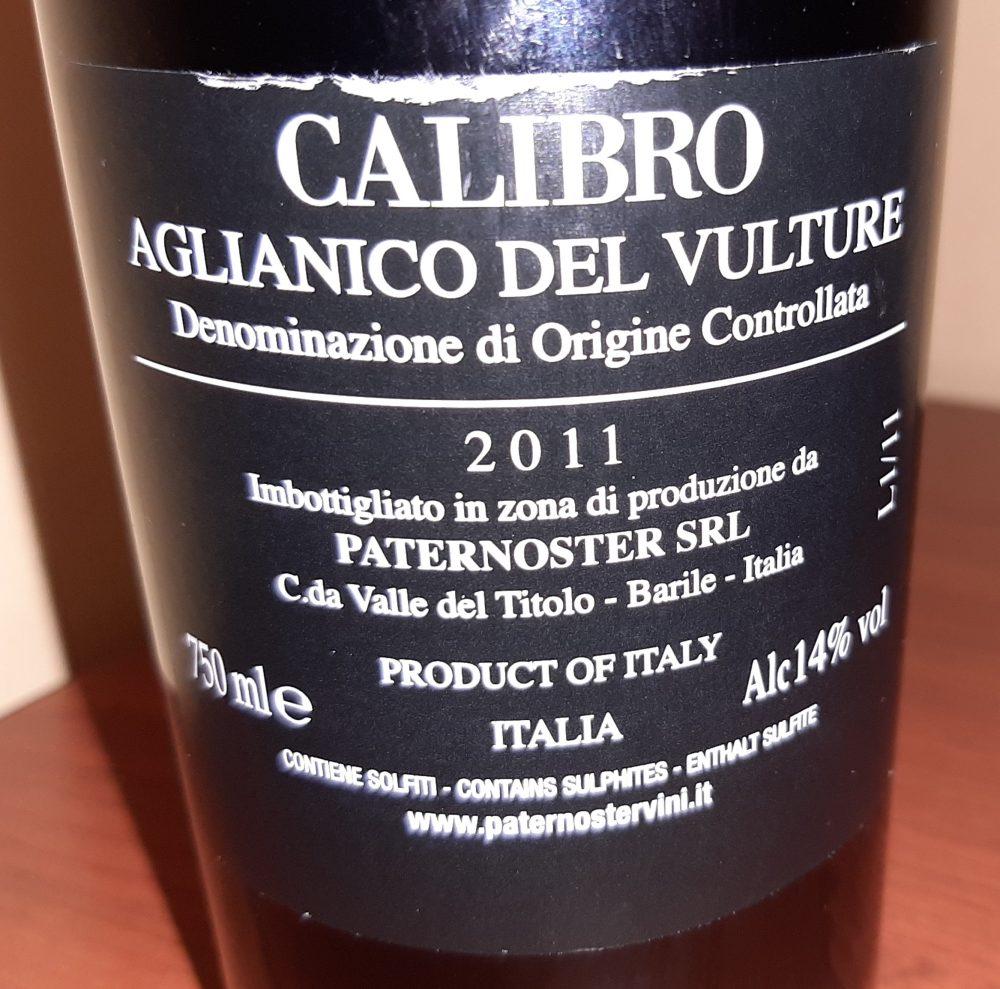 Controetichetta Calibro Aglianico del Vulture Doc 2011 Paternoster