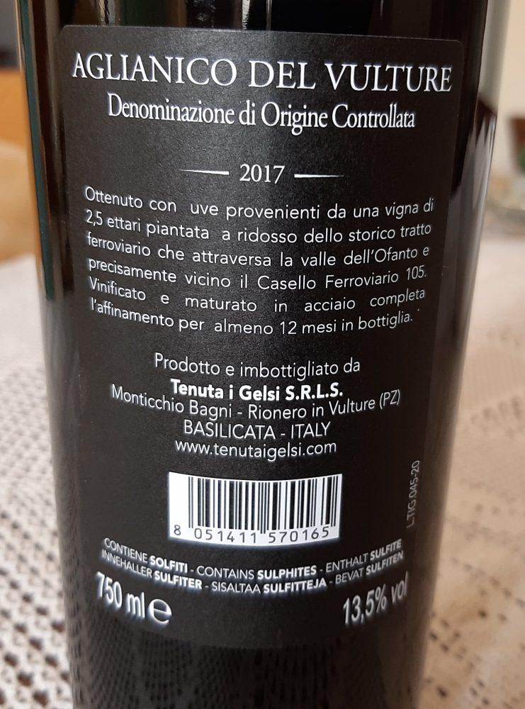 Controetichetta Casello 105 Aglianico del Vulture Doc 2017 Tenuta I Gelsi