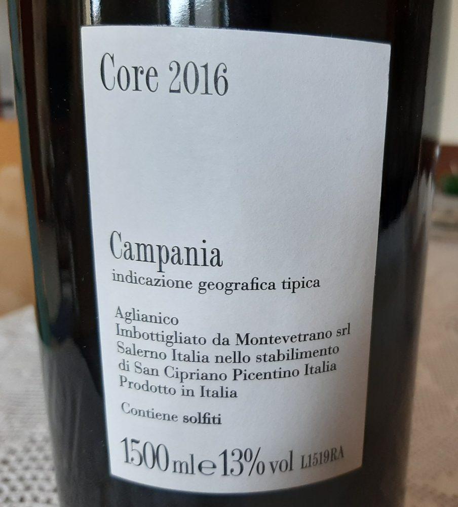 Controetichetta Core Aglianico Campania Igt 2016 Montevetrano