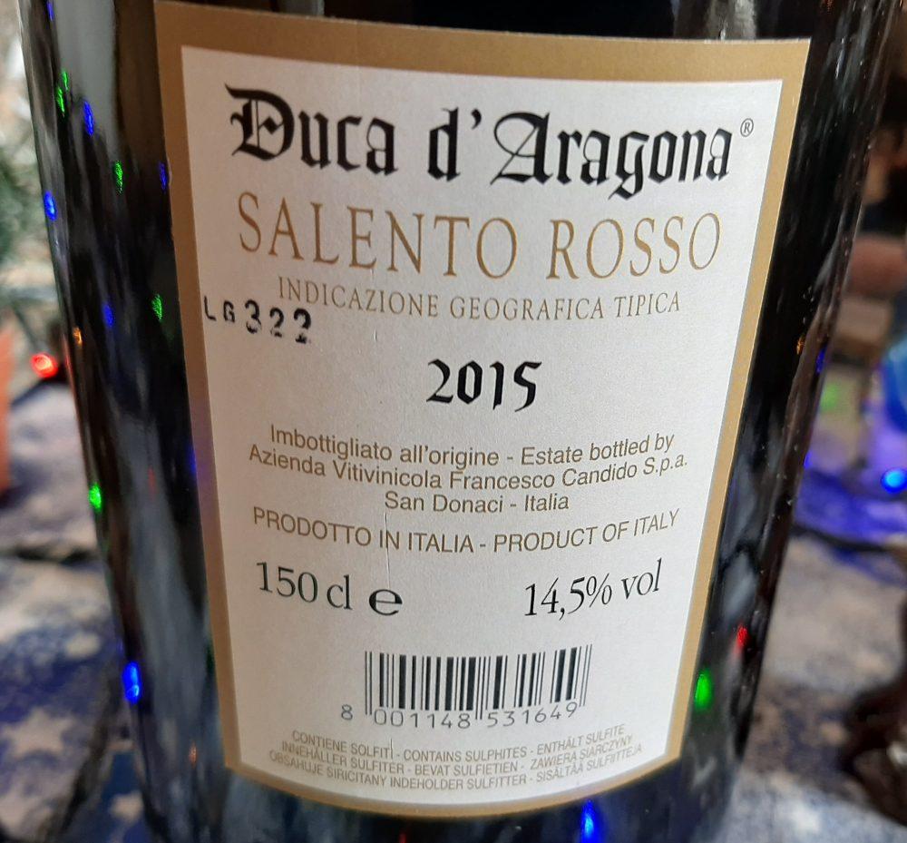 Controetichetta Duca D'Aragona Salento Rosso Igt 2015 Candido