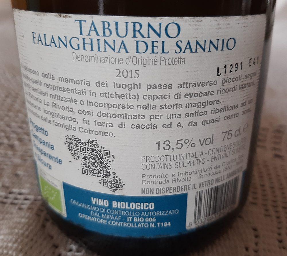 Controetichetta Falanghina del Sannio Dop 2015 Fattoria La Rivolta