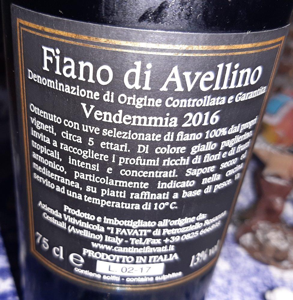 Controetichetta Pietramara Fiano di Avellino Docg 2016 I Favati