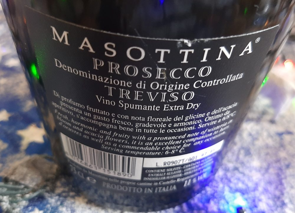 Controetichetta Prosecco Treviso Doc Extra Dry Masottina