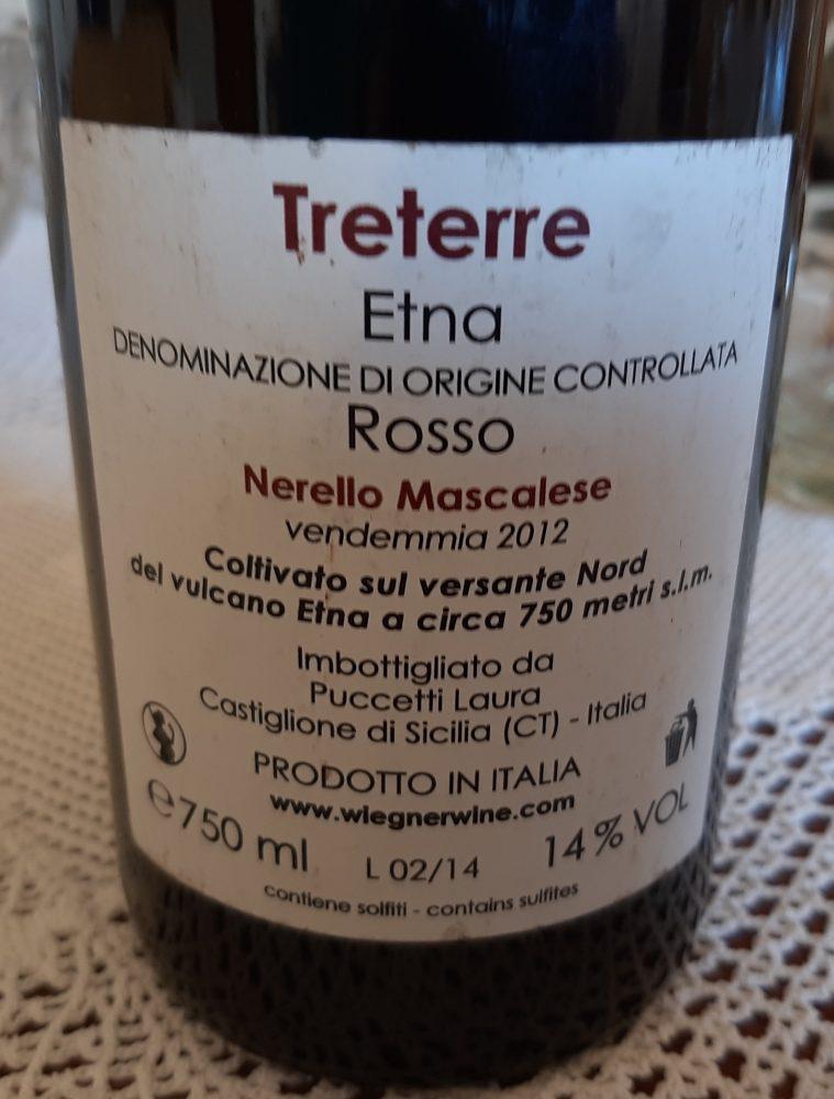 Controetichetta Treterre Etna Rosso Doc 2012 Wiegner