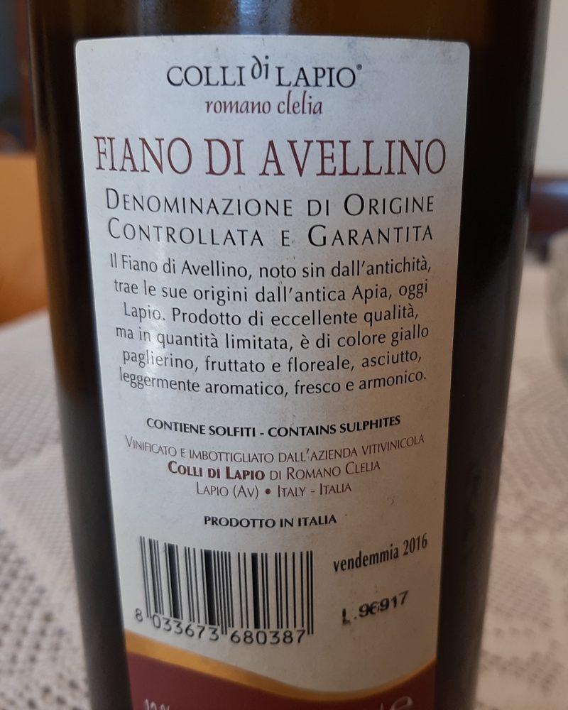 Controetichetta Colli di Lapio Fiano di Avellino Docg 2016 Romano Clelia