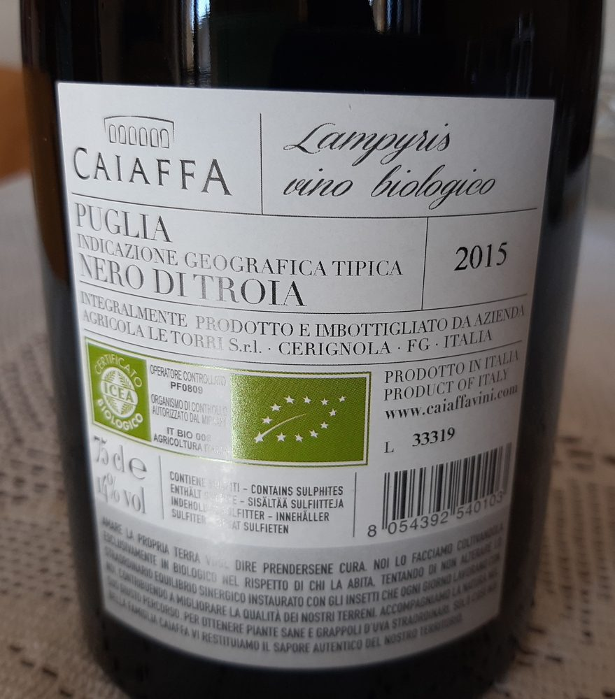 Controetichetta Lampyris Nero di Troia Puglia Igt 2015 Caiaffa