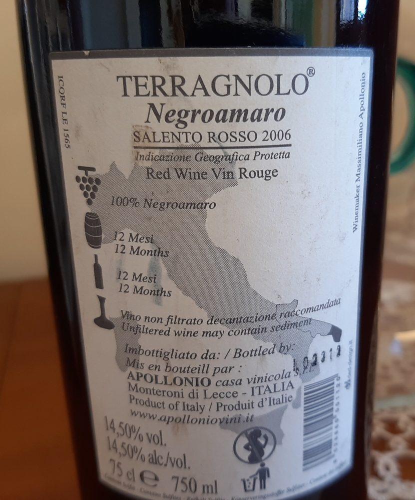 Conttroetichetta Terragnolo Negroamaro Salento Rosso Igp 2006 Apollonio