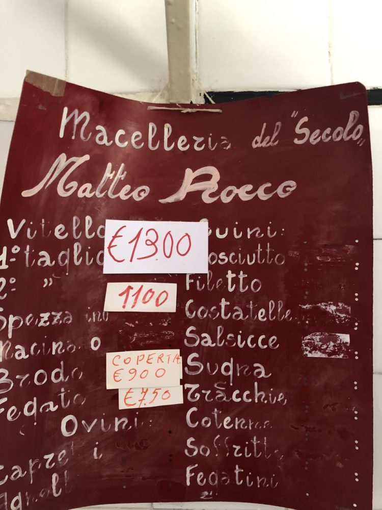 Macelleria Rocco - prezzario anni 60