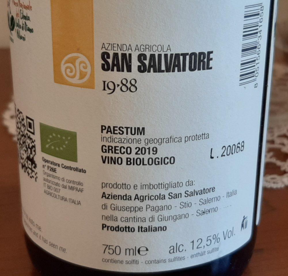 Controetichetta Calpazio Greco Paestum Igp 2019 San Salvatore