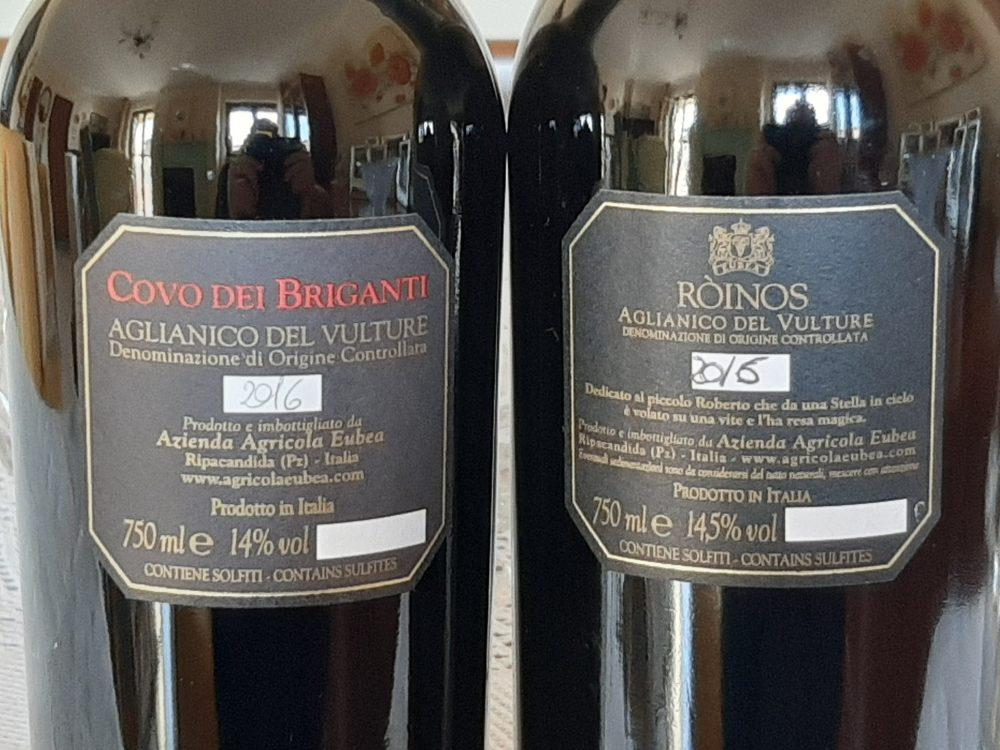 Controetichette vini azienda Eubea