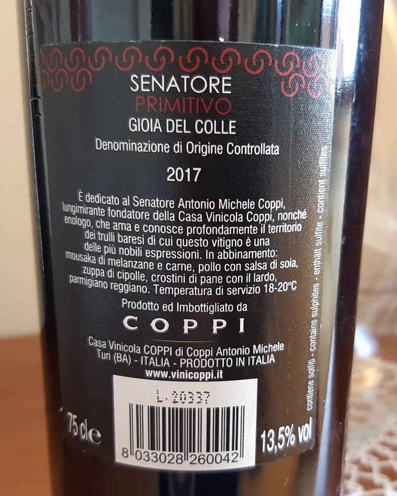 Conttoetichetta Senatore Primitivo Gioia del Colle Doc 2017 Coppi